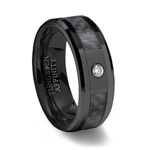 Black Ceramic Ring with Cubic Zirconia & Black Carbon Fiber Inlay