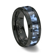 Blue Camouflage Inlay Black Ceramic Wedding Ring