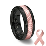 Pink Carbon Fiber Inlay Black Ceramic Wedding Ring