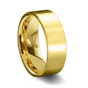 Gold Polished Finish Pipe Cut Tungsten Carbide Wedding Ring