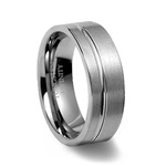 Brushed Tungsten Band with Offset Channel