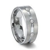 Brushed Mens Tungsten Wedding Band with 3 CZ Gems