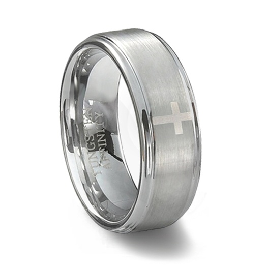 Brushed Tungsten Carbide Cross Wedding Band