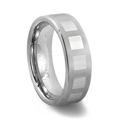 Brushed Finish Tungsten Carbide Square Pattern Ring
