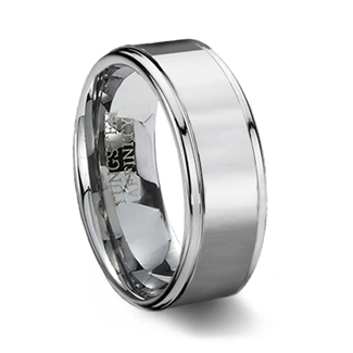 Polished Finish Tungsten Carbide Wedding Band & Step Edge