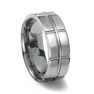 Polished Tungsten Ring & Intersecting Grooves
