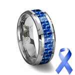 Blue Carbon Fiber Tungsten Wedding Ring