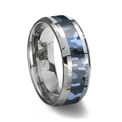 Blue Camouflage Tungsten Wedding Ring
