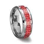 Red Carbon Fiber Tungsten Wedding Ring