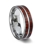 Double Wood Inlay Tungsten Wedding Ring