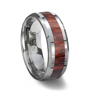 Wood Inlay Tungsten Wedding Ring