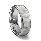 Tungsten Carbide Greek Key Ring