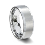 Brushed White Tungsten Carbide Wedding Ring with Beveled Edge
