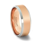 Brushed Rose Gold Tungsten Carbide Ring with Rose Gold Inner Band & high polished beveled edges
