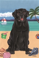 Labrador Retriever Black on the Beach Flag SaltyPaws.com