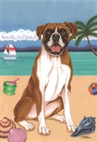 Boxer on the Beach Flag SaltyPaws.com