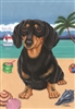 Black Dachshund on the Beach Flag SaltyPaws.com
