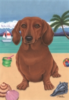 Red Dachshund on the Beach Flag SaltyPaws.com