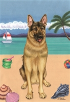 German Shepherd on the Beach Flag SaltyPaws.com