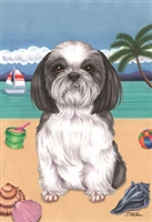 Black and White Shih Tzu on the Beach Flag SaltyPaws.com