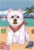 West Highland Terrier on the Beach Flag SaltyPaws.com
