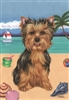 Yorkshire Terrier on the Beach Flag SaltyPaws.com