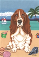 Basset Hound on the Beach Flag Banner SaltyPaws.com