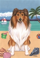 Collie on the Beach Flag SaltyPaws.com