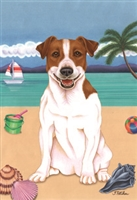 Jack Russell Terrier on the Beach Flag SaltyPaws.com