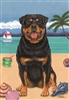 Rottweiler on the Beach Flag SaltyPaws.com