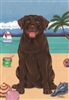 Labrador Retriever Chocolate on the Beach Flag SaltyPaws.com