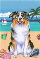 Australian Shepherd Beach Flag SaltyPaws.com