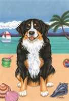 Bernese Mountain Dog on the Beach Flag SaltyPaws.com