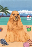 Cocker Spaniel on the Beach Flag SaltyPaws.com