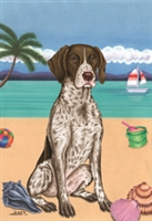 German Shorthair Pointer on the Beach Flag SaltyPaws.com