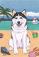 Siberian Husky on the Beach Flag SaltyPaws.com
