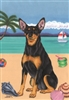 Miniature Pinscher on the Beach Flag SaltyPaws.com