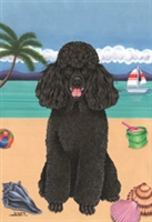 Poodle Black on the Beach Flag SaltyPaws.com
