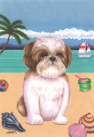 Tan and White Shih Tzu on the Beach Flag SaltyPaws.com