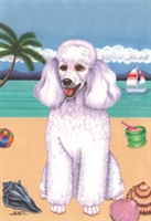 Poodle White on the Beach Flag SaltyPaws.com
