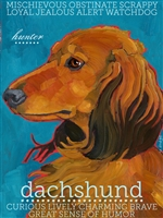 Dachshund Red Long Hair Artistic Fridge Magnet SaltyPaws.com