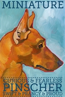 Miniature Pinscher Red Artistic Fridge Magnet SaltyPaws.com