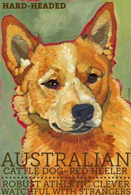 Australian Cattle Dog Red Heeler Artistic Fridge Magnet SaltyPaws.com