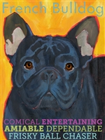 French Bulldog Black Artistic Fridge Magnet SaltyPaws.com