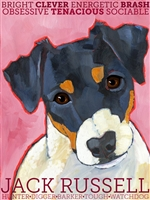 Jack Russell Terrier Black & White Artistic Fridge Magnet SaltyPaws.com