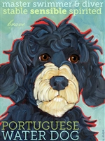 Portuguese Water Dog Artistic Fridge Magnet SaltyPaws.com