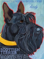 Scottish Terrier Black Artistic Fridge Magnet SaltyPaws.com