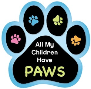 All My Children Have Paws Dog Paw Magnet for Car or Fridge