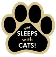 Sleeps with Cats Paw Magnet for Car or Fridge