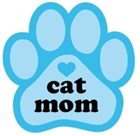 Cat Mom Paw Magnet for Car or Fridge blue